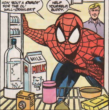 spider-man has milk snack