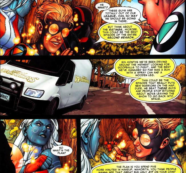 opening frames of marvel civil war panels speedball