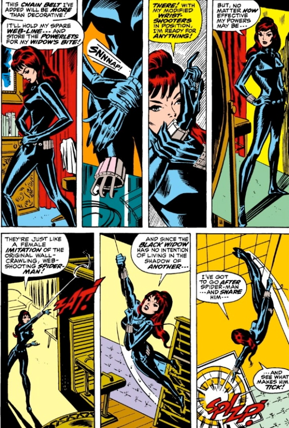 First apperance of Black Widow's skin-tight leathers